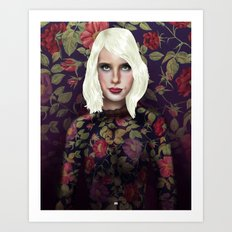 Young Girl and Flowers (Emma Roberts) Art Print