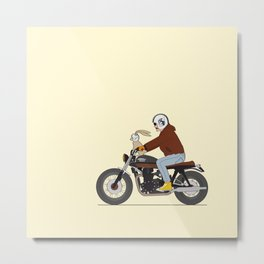 Bunny riding triumph Metal Print