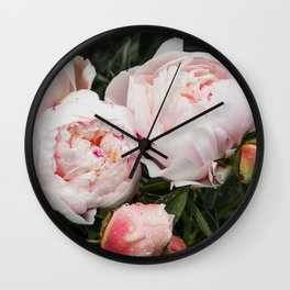 Flower Photography | Peonies Cluster | Blush Pink Floral | Peony Wall Clock