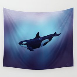 """""""Lost in Fantasy"""" by Amber Marine ~ Orca / Killer Whale Art, (Copyright 2015) Wall Tapestry"""