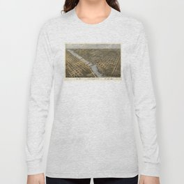 Aerial View of Grand Rapids, Michigan (1868) Long Sleeve T-shirt