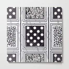 Exaggerated Dots and Circle, Dots, Square, Leopard and Skin Detailed Black and White Pattern Metal Print