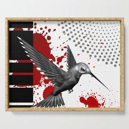 Trash Polka Flying Hummingbird Geometric Shapes Serving Tray