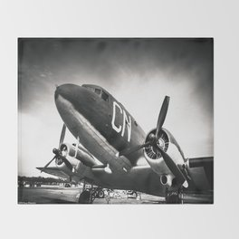 C-47D Skytrain Black and White Throw Blanket