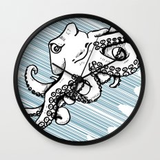 Octopus with Speed lines by RonkyTonk Underwater Wall Clock