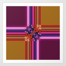 Purplish-Red and Gold Colorblock Abstract Art Print