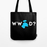 pixar Tote Bags featuring Pixar/Disney: What Would Wall-E Do? by InvaderDig