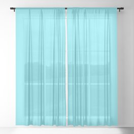Spring - Pastel - Easter Blue Solid Color 2 Sheer Curtain