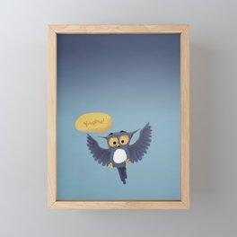 Cute little blue owl having fun. Framed Mini Art Print