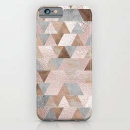 Copper and Blush Rose Gold Marble Triangles iPhone Case
