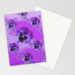 PURPLE PANSIES ABSTRACT ART Stationery Cards