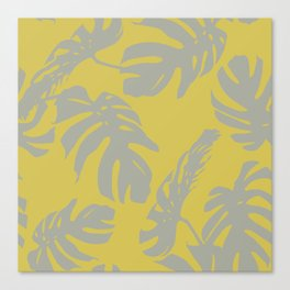 Palm Leaves Retro Gray on Mod Yellow Canvas Print