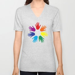 Rainbow hands Unisex V-Neck
