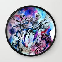 marc jacobs Wall Clocks featuring Marc Bolan - Cosmic Dancer by FlowerMoon Studio