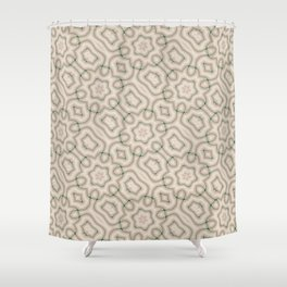 Squiggles in Green on Beige Shower Curtain