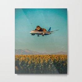 Lion on a plane Metal Print