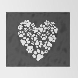 Dog Paw Prints Heart Throw Blanket