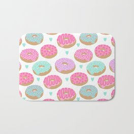 Donut hearts pastel colors love happy hipster foodie funny valentines day Bath Mat