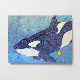 The Traveler Orca and Fish Metal Print