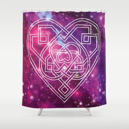 Pink Celtic Heart Galaxy Shower Curtain