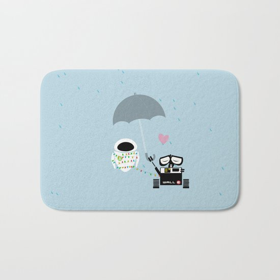 true love.. walle and eve  Bath Mat