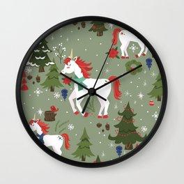 Christmas Winter Unicorn Pattern Wall Clock