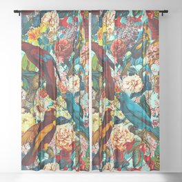 FLORAL AND BIRDS XV Sheer Curtain