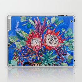Painterly Bouquet of Proteas in Greek Horse Urn on Blue Laptop & iPad Skin