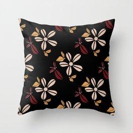 Minimal Floral Pattern On Black Throw Pillow