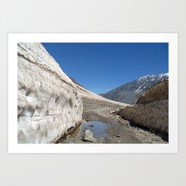 Snow Bank Lahaul Valley Art Print