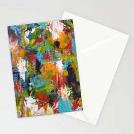 """""""The Abstract Mediterranean"""" Acrylic Painting by Noora Elkoussy Stationery Cards"""