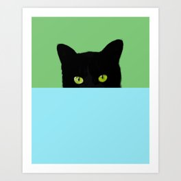 Black Hidden Cat Green Art Print