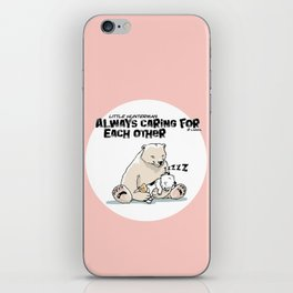 Little Hunterman – Always Caring for Each Other /white circle on pink iPhone Skin