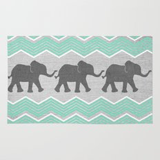 Three Elephants - Teal and White Chevron on Grey Rug