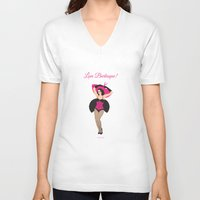 burlesque V-neck T-shirts featuring Burlesque Girl by Sabi Koz