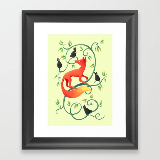 Bunnies and a Fox Framed Art Print