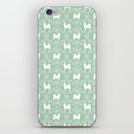 Chihuahua long haired mint and white floral silhouette pattern dog breed art iPhone Skin