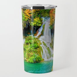 Waterfall and Lake in Autumn Forest Travel Mug