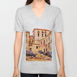 Catanzaro: buildings of the historic center with cars Unisex V-Neck