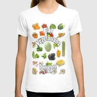 vegetarian T-shirts featuring Eat A Vegetarian by PerfectImperfections