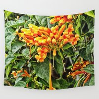 trumpet Wall Tapestries featuring Spectacular orange trumpet flower by Wendy Townrow