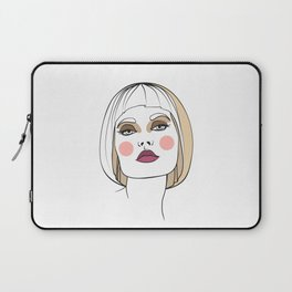Blonde woman with makeup. Abstract face. Fashion illustration Laptop Sleeve
