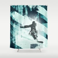 snowboarding Shower Curtains featuring x-treme boarding by JG-DESIGN
