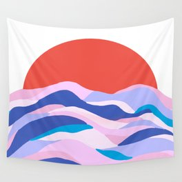 lucia, orange sunset ocean waves Wall Tapestry