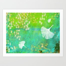 Green Ginkgo Tile Art Print