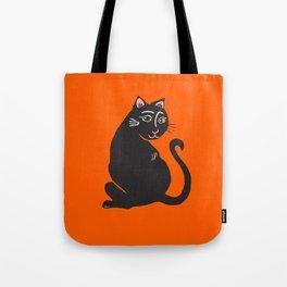Black Cat with Orange Tote Bag