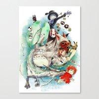 ghibli Canvas Prints featuring Ghibli by Archiri Usagi