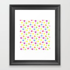 Cute retro hen and flowers Framed Art Print