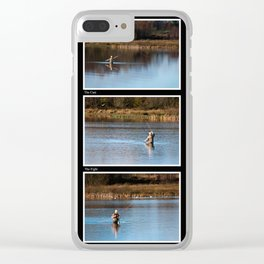 Gone Fishing Triptych Black Clear iPhone Case