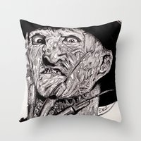 freddy krueger Throw Pillows featuring Freddy Krueger by Emz Illustration